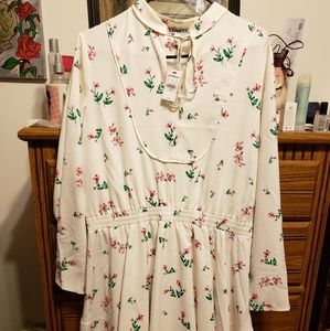Express Floral and white long sleeved dress